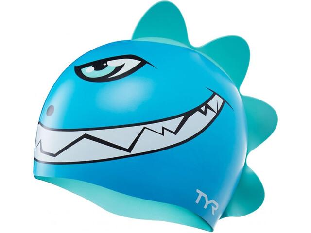 TYR Charactyrs Dino Destroyer Bonnet de bain Enfant, blue/green
